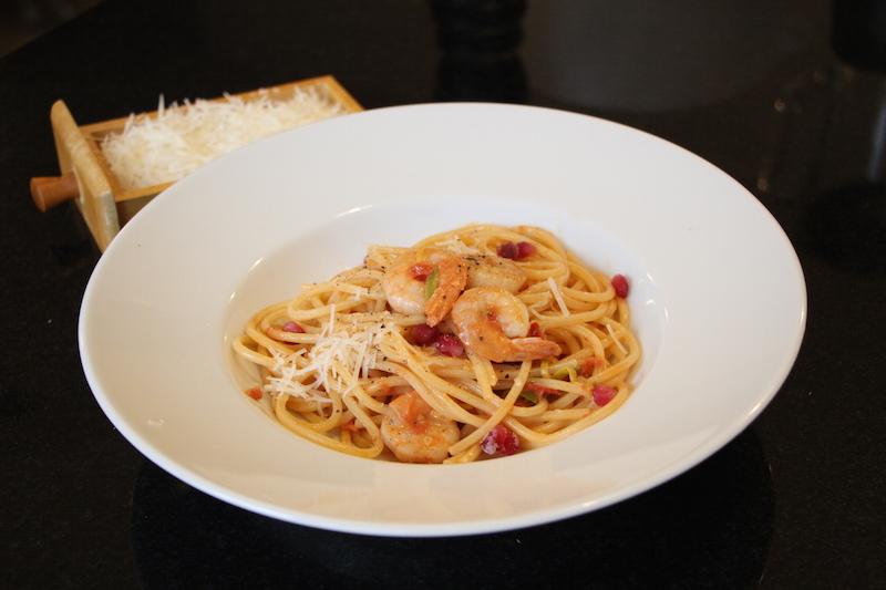 Spaghetti mit Garnelen und Cognac
